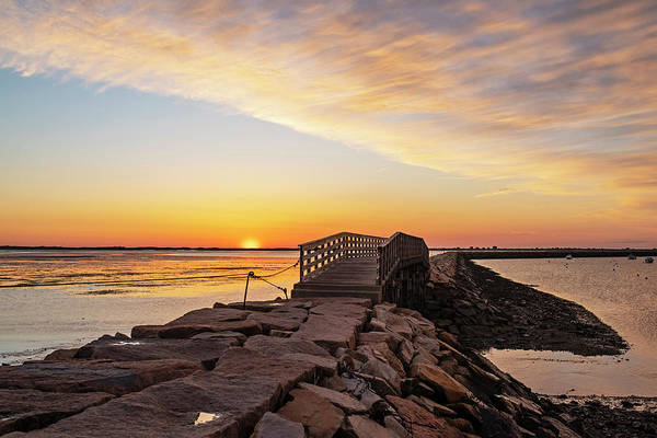 Photograph - Sunrise In Plymouth Ma Bridge And Rock Wall by Toby McGuire