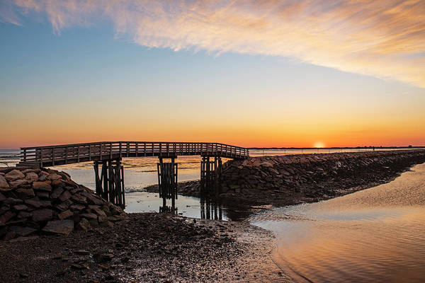 Photograph - Sunrise In Plymouth Ma Bridge And Rock Wall Waterway by Toby McGuire