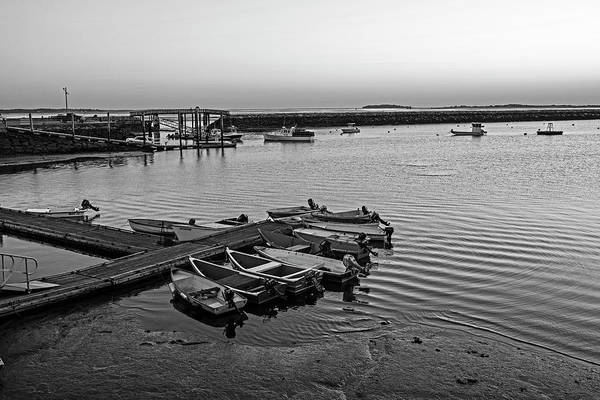 Photograph - Sunrise In Plymouth Ma Bridge Boats And Rock Wall Waterway Black And White by Toby McGuire
