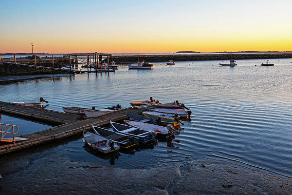 Photograph - Sunrise In Plymouth Ma Bridge Boats And Rock Wall Waterway by Toby McGuire