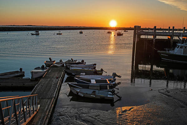 Photograph - Sunrise In Plymouth Ma Dock Pier Boats Golden Sun by Toby McGuire