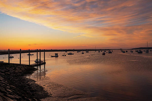 Photograph - Sunrise In Plymouth Ma Dock Pier Boats Golden Sunrise by Toby McGuire