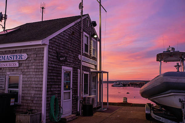 Wall Art - Photograph - Sunrise In Plymouth Ma Harbormaster Dock Pier Boat by Toby McGuire