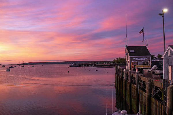 Photograph - Sunrise In Plymouth Ma Harbormaster Dock Pier by Toby McGuire