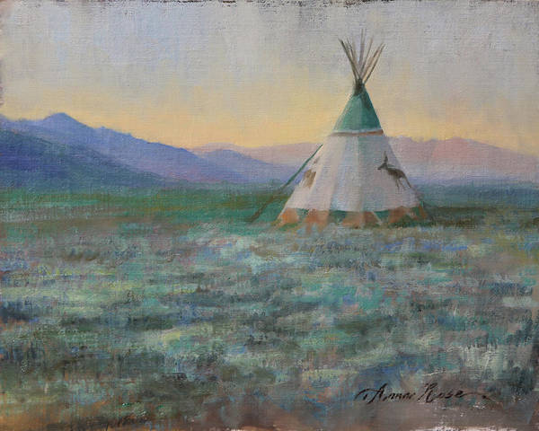 Wall Art - Painting - Sunrise In The Desert by Anna Rose Bain