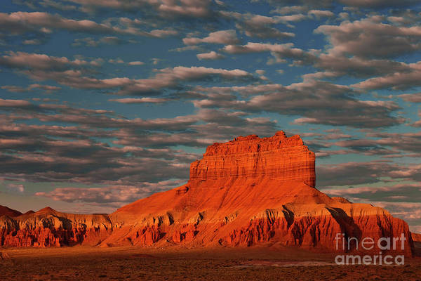 Photograph - Sunrise Lights Up Wild Horse Butte Goblin Valley Utah by Dave Welling