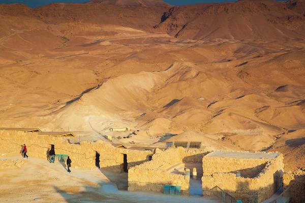 Roman Wall Photograph - Sunrise, Masada Plateau, Masada, Dead by Danita Delimont