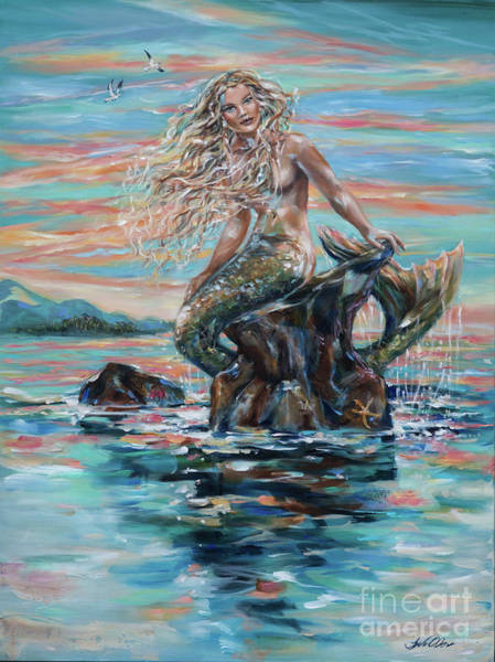 Painting - Sunrise Mermaid by Linda Olsen