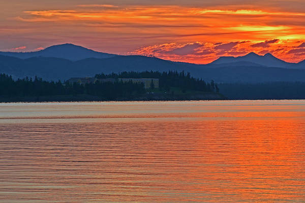 Photograph - Sunrise Of Orange Over Yellowstone Lake by Bruce Gourley