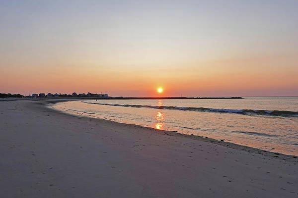 Photograph - Sunrise On Green Harbor Beach Marshfield Ma Golden Sky by Toby McGuire
