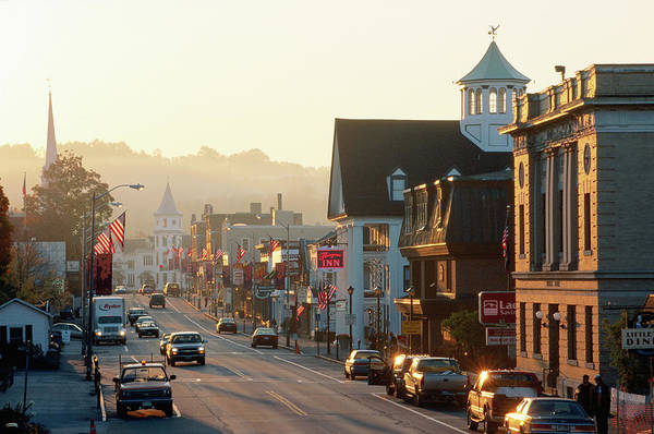 New Hampshire Photograph - Sunrise On Main Street, Littleon, New by John Elk Iii