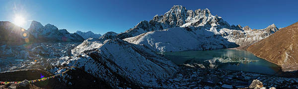 Gokyo Photograph - Sunrise On Mountain Glacier Peaks by Fotovoyager