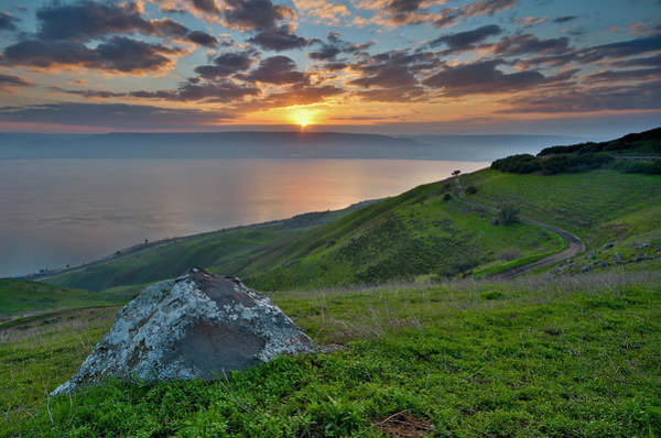 Horizontal Landscape Photograph - Sunrise On Sea Of Galilee by Ilan Shacham