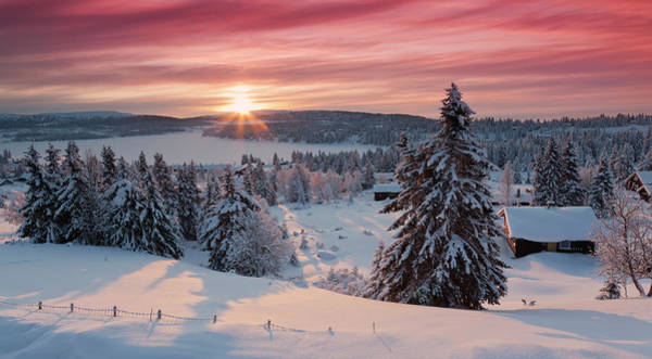 Lillehammer Photograph - Sunrise On Snow Covered Village by Rob Kints