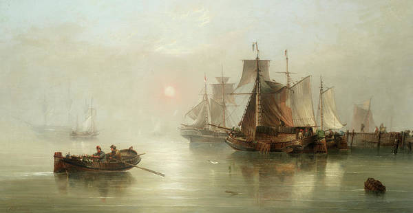 Wall Art - Painting - Sunrise On The Elbe by Henry Redmore