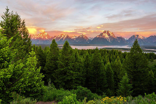 Wall Art - Photograph - Sunrise On The Grand Tetons Over Jackson Lake - Wyoming by Brian Harig