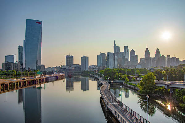 Wall Art - Photograph - Sunrise On The Schuylkill River - Philadelphia Cityscape by Bill Cannon