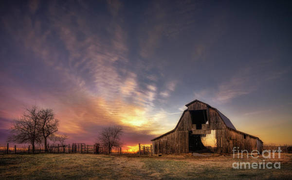 Wall Art - Photograph - Sunrise Over Barn, Arkansas, Usa by Jonathan Rice
