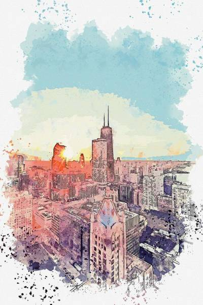 Wall Art - Painting - Sunrise Over Chicago Watercolor By Ahmet Asar by Ahmet Asar