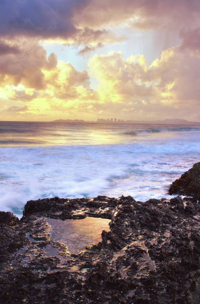 Tidal Photograph - Sunrise Over Coolangatta by Nancy Branston