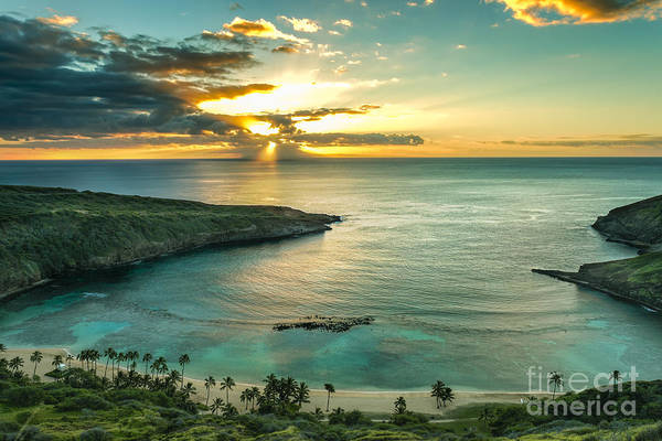 Hawaiian Wall Art - Photograph - Sunrise Over Hanauma Bay On Oahu, Hawaii by Leigh Anne Meeks