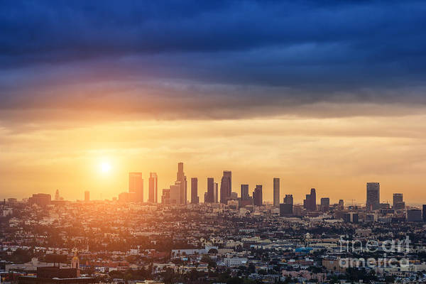 Wall Art - Photograph - Sunrise Over Los Angeles City Skyline by Logoboom