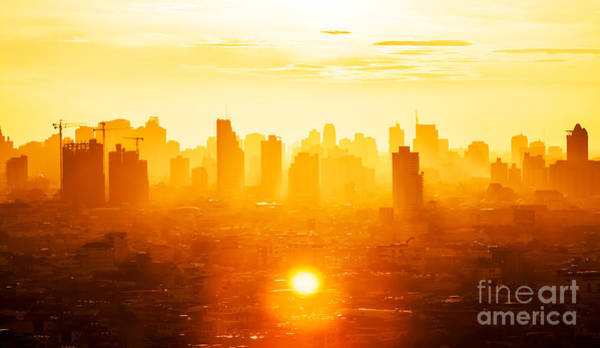 Pollution Photograph - Sunrise Over Modern Office Buildings In by Twstock