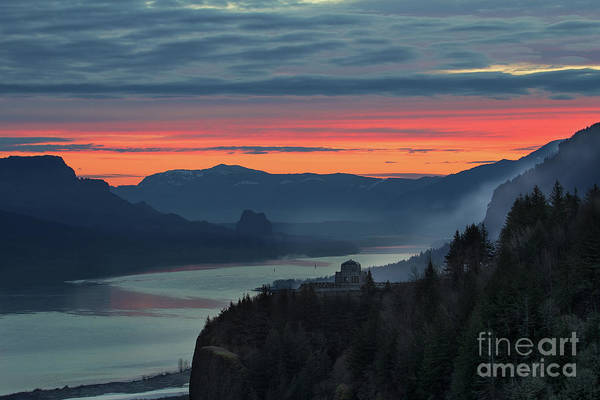 Wall Art - Photograph - Sunrise Over Mountains And River by David Gn
