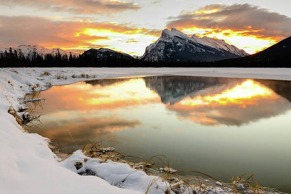 Vermillion Lakes Wall Art - Photograph - Sunrise Over Mt Rundle From Vermilion by Rebecca Schortinghuis