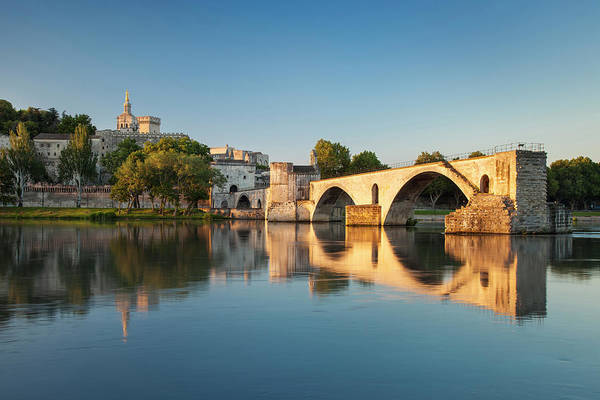 Rhone River Photograph - Sunrise Over River Rhone, Pont Saint by Danita Delimont
