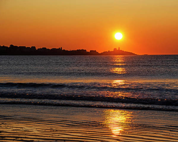 Photograph - Sunrise Over The Nubble Lighthouse From Long Sands Beach Long Beach York Maine by Toby McGuire