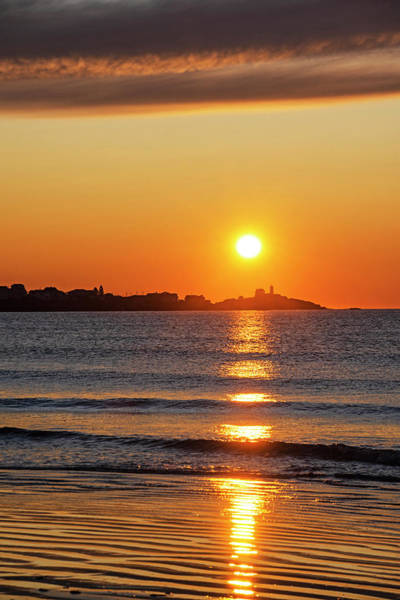 Photograph - Sunrise Over The Nubble Lighthouse From Long Sands Beach Long Beach York Maine Vertical by Toby McGuire