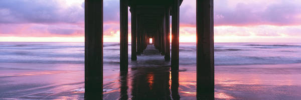 Scripps Pier Photograph - Sunrise Over The Pacific Ocean Seen by Panoramic Images