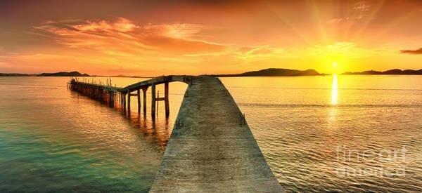 Dusk Wall Art - Photograph - Sunrise Over The Sea. Pier On The by Khoroshunova Olga