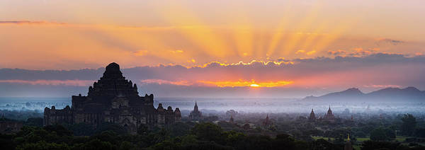 Wall Art - Photograph - Sunrise Over The Temples Of Bagan by Jon Hicks