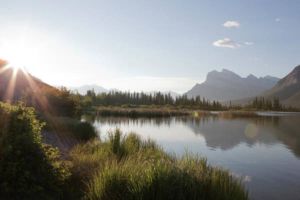 Vermillion Lakes Wall Art - Photograph - Sunrise Over Vermillion Lake In Summer by Ascent Xmedia