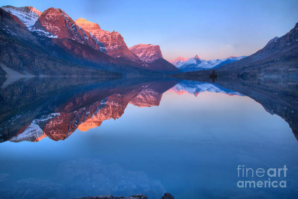 Photograph - Sunrise Refelctions Across St. Mary Lake by Adam Jewell