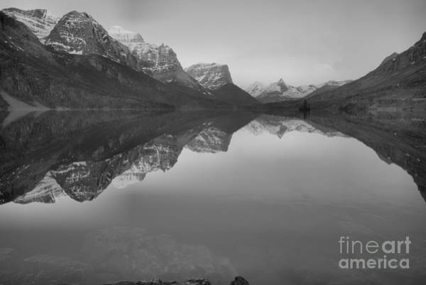 Photograph - Sunrise Reflections Across St. Mary Lake Black And White by Adam Jewell