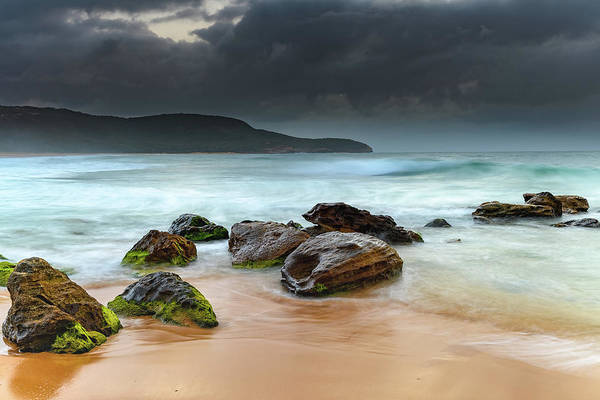Killcare Photograph - Sunrise Seascape, Beach And Dark Clouds by Merrillie Redden