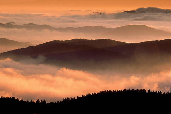 Southern Usa Photograph - Sunrise Southern Appalachian Mtns by Robert C Nunnington