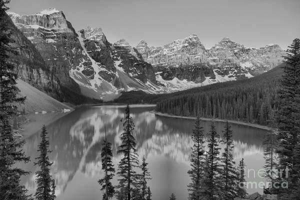 Photograph - Sunrise Spectacular At Moraine Lake 2019 Black And White by Adam Jewell