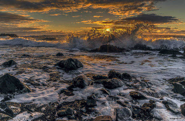 Photograph - Sunrise Surf At Quoddys Cobble Beach by Marty Saccone
