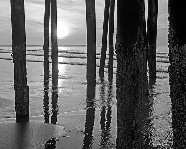 Photograph - Sunrise Under The Old Orchard Beach Pier Maine Black And White by Toby McGuire