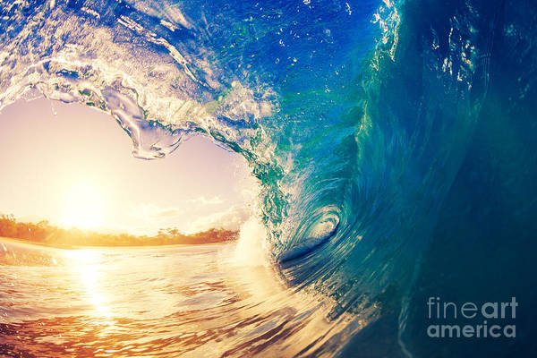 Wall Art - Photograph - Sunrise Wave, Tropical Island Atoll by Epicstockmedia