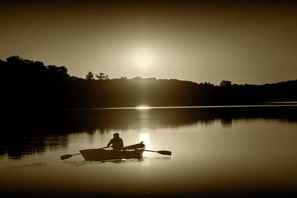 Wall Art - Photograph - Sunrise With Rowboat Crossing Stony Lake In Sepia Tone by Randall Nyhof