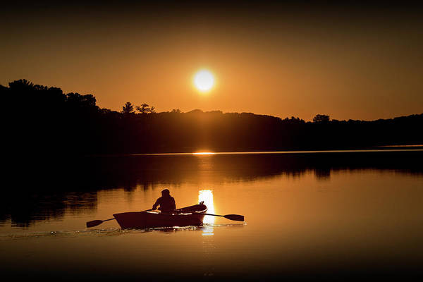 Wall Art - Photograph - Sunrise With Rowboat Crossing Stony Lake by Randall Nyhof