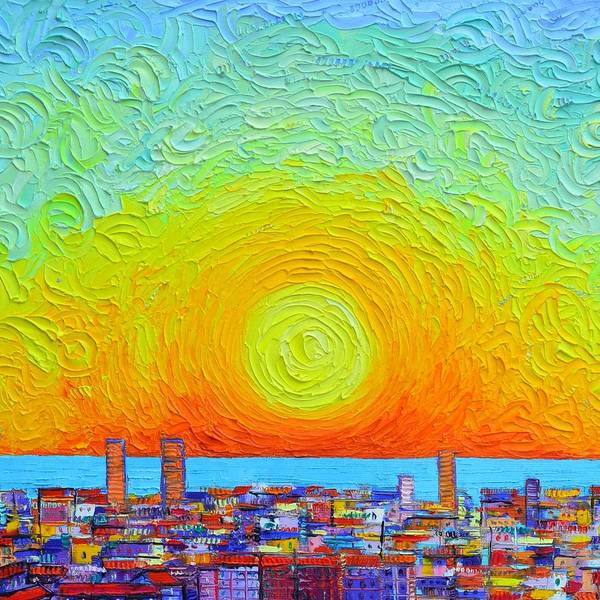 Painting - Sunscape With Barcelona Abstract City Patterns Textural Impasto Knife Cityscape Ana Maria Edulescu by Ana Maria Edulescu