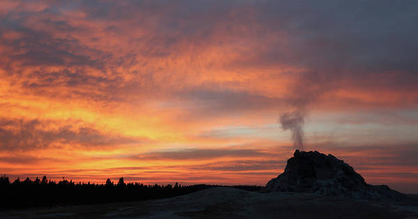 Photograph - Sunset 0ver White Dome Geyser by Jean Clark