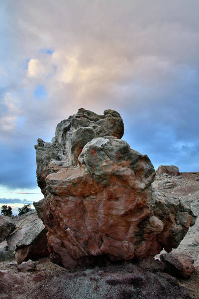 Photograph - Sunset Above Colorful Boulder In Bentonite Site by Ray Mathis