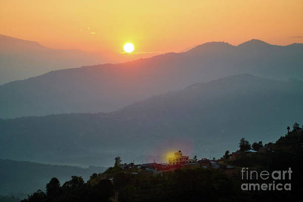 Wall Art - Photograph - Sunset Above Mountain In Valley Himalayas Mountains by Raimond Klavins